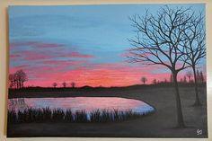 Sunrise Painting Sunset Serene Park Setting Pink Blue Black Calm Lake Water Reflections Morning Fog Original Artwork Large Canvas Wall Decor