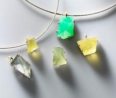 Regine Schwarzer  Pendants: Untitled 2008  Actinolite, quartz, prehnite, chrysoprase, sterling silver, 22ct gold