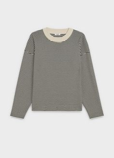 Shop oversize t-shirt in striped cotton and discover the latest t-shirts & sweatshirts collections on CELINE Official Website T-shirt Trop Grand, Latest T Shirt, Adidas Outfit, Warm Sweaters, Long Sleeve Tops, Ready To Wear, Muslim, Cute Outfits