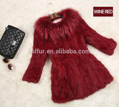 2017 Fashion Wholesale rabbit fur coat fashion warm long rabbit hair lady's garment With a raccoon collars