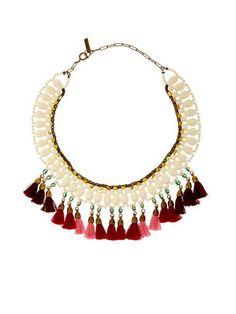Milk tassel and bead collar necklace | Isabel Marant | MATCHES... #Boho
