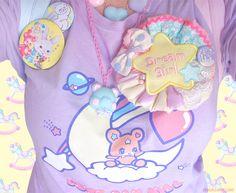 cute badges and brooches Pastel Fashion, Pop Fashion, Kawaii Fashion, Lolita Fashion, Sugar Rush, All Things Cute, Harajuku Fashion, Candyland, Magical Girl