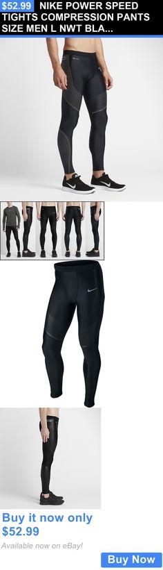 d079431428e0 Men Athletics  Nike Power Speed Tights Compression Pants Size Men L Nwt  Black Silv 717750
