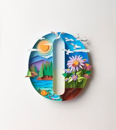 "Letter O ""6"" inches in height, on a base 9"" / 12"" Artwork has a landscape with the sun shining, Aster flowers along with birds..."