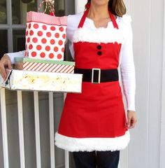 This santa apron would be great for christmas eve dinner & christmas morning brunch!