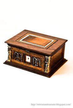 "Incredible miniature bible box, Renaissance style, Miniature Treasures.  To house a 1"" Bible."