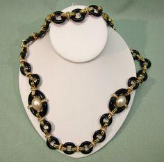 Ciner Black Glass Faux Pearl Rhinestone Necklace