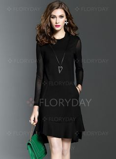 Dresses - $45.67 - Polyester Solid Long Sleeve Above Knee Casual Dresses (1955129853)