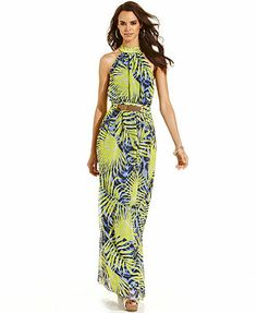 Marciano Leaf-Print Maxi Dress. Well this is the one! This is the dress I am wearing to graduation.... And probably every day afterwards for a week ❤️
