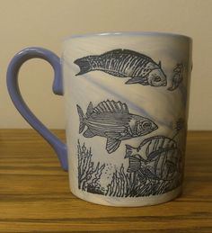 Angler Ocean Exotic Fish Tropical Blue Marble Salt Water Undersea Ceramic Mug