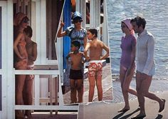 Audrey Hepburn and Dotti photographed with Sean and Andrea in Greece during their summer vacation in 1971