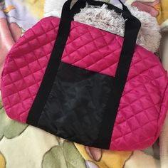 FINAL SALE Hot Pink Duffle Bag from Sally's Hot Pink Duffle Bag from Sally's. Got this as a free gift included with my paid membership to Sally's Beauty Supply. Used once only to store some hair products for a week or so but never taken outside my house or used afterwards. No flaws! THIS IS THE FINAL SALE PRICE FOR THIS ITEM! Bags Totes