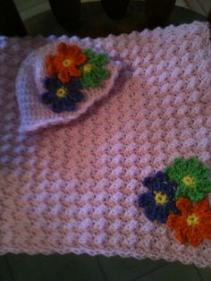Hooded Pink Baby Afghan with Gerber Daisies