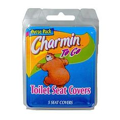 Charmin To Go Toilet Seat Covers -5 seat covers in travel size plastic purse pack. Quick, easy and safe protection when away from home. Convenient Purse Pack keeps seat covers neat, clean and fresh and fits any purse or pocket. Safe for sewer or septic system. #bathroom #essentials