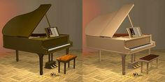 Mod The Sims - Music - part 1, 10 maxis piano recolors