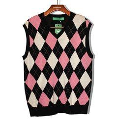 Mens Black/Pink/White Argyle Sweater Vest