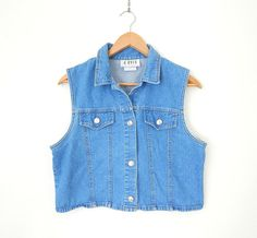 Vintage 90s Cropped Denim Vest - Size Large - Women's Grunge Button Up Jean Vest