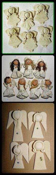ideas for clay angels Angel Crafts, Christmas Crafts, Christmas Ornaments, Hobbies And Crafts, Diy And Crafts, Arts And Crafts, Paper Clay, Clay Art, Christmas Angels