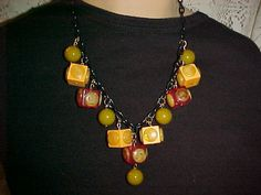 Bakelite 3 Color Cube Necklace Dots and Beads