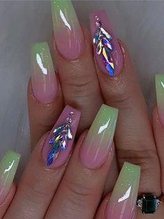 Cute Acrylic Nail Designs, Beautiful Nail Designs, Nail Art Designs, Summer Acrylic Nails, Best Acrylic Nails, Nail Summer, Gorgeous Nails, Love Nails, Pretty Nail Art