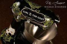 Custom Girl & The Goat Themed KitchenAid Mixer, love the color scheme! Kitchen Aid Mixer, Kitchen Appliances, Guitar Case, Mixers, Custom Paint, Custom Design, Artisan, Kitchenaid, Goat