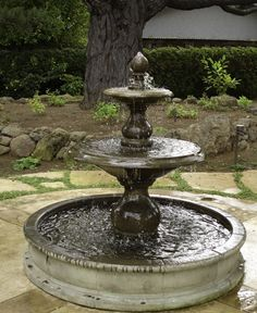 Looking to renovate your yard? Try a fountain! can help with all of your outdoor water feature needs. Large Outdoor Fountains, Stone Garden Fountains, Backyard Water Fountains, Diy Water Feature, Backyard Water Feature, Large Backyard, Outdoor Water Features, Water Features In The Garden, Water Fountain Design
