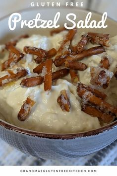 This is a wonderfully easy recipe that will have everyone asking for more! Sweet, creamy and crunchy all at once. #glutenfreerecipes #glutenfreedesserts #pretzelsalad #glutenfreepretzelsalad Easy Gluten Free Desserts, Gluten Free Recipes, Gourmet Recipes, Dessert Recipes, Gluten Free Kitchen, Gluten Free Baking, Gluten Free Pretzels, Pretzel Salad, Recipe Filing