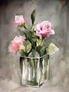 Pink Roses – Embroidery pattern – Hand embroidery design – Cross stitch chart – Counted cross stitch pattern in PDF format Rosa Rosen – Stickmuster [. Art Floral, Flower Vases, Flower Art, Roses Vase, Cactus Flower, Watercolor Flowers, Watercolor Art, Painting Flowers, Painting Art
