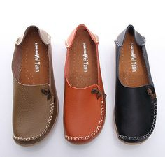 BN Womens Padded Leather Comfy Casual Walking Bowed Flat Shoes Loafers Moccasin