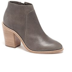 Loeffler Randall Ella Stacked Heel Ankle Boot in Grey Leather ($150) ❤ liked on Polyvore featuring shoes, boots, ankle booties, booties, ankle boots, gray ankle boots, leather bootie, high heel leather boots and high heel booties