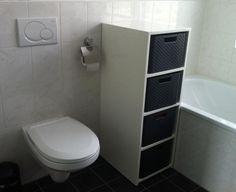 Foto: Zelf gemaakte wasmand ombouw. Curver wasmanden maat L. Ik gebruik ze voor handdoeken, gekleurde was, witte was en zwarte was.. Geplaatst door Thaampie op Welke.nl