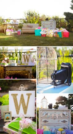 Beautiful Outdoor Baby Shower in Mint, Pink, and Gold