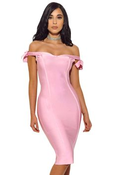 3d47c612015 33.35 Pink Off The Shoulder Sexy Bodycon Bandage Dress with Tie Bow   offshoulder