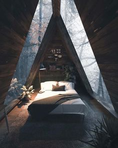 Beautiful Home Interior .Beautiful Home Interior Forest Cabin, Forest House, A Frame Cabin, A Frame House, Cabins In The Woods, House In The Woods, House Ideas, Tiny House Design, Interior And Exterior