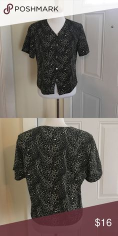 "Cheetah blouse NWOT. Size medium. B: 20"" L: 21"". Does have shoulder pads you can easily snip off. trufffles Tops Blouses"