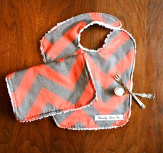 Coral and Gray Chevron Baby Bib set- Love this color combo!