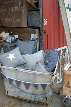 I could make easy denim pillows from old jeans for my patio, but probably would have to bring back inside each time. Still...
