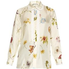 Gucci Windly Flowers-print satin blouse ($905) ❤ liked on Polyvore featuring tops, blouses, gucci, shirts, white multi, floral blouse, white floral blouse, pleated shirt, loose shirts and pleated blouse
