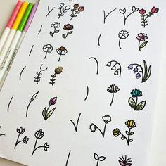 bullet journal doodles - different flowers