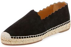 Chloe Scalloped Suede Espadrille Flat, Black