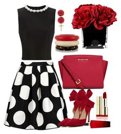 """""""Black, White &red"""" by mariamsilue on Polyvore featuring Boutique Moschino, Simone Rocha, MICHAEL Michael Kors, Victoria's Secret, Kenneth Jay Lane and Hervé Gambs"""
