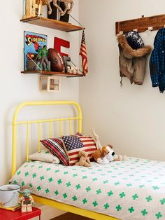 the boo and the boy: eclectic kids' rooms. coat rack love!!! book shelf love!!