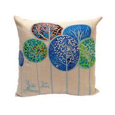 Get your home ready for the holidays with this festive throw pillow. This debage-hand crafted pillow is made out of cotton and features a forest of Patterned trees. Set includes: One (1) throw pillow