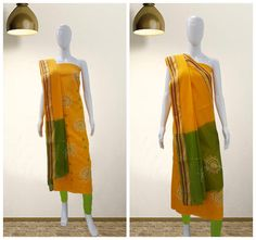 Hand Embroidered Bandhani Dress Material. A classy color combination to help enhance the beauty. Material used is cotton satin, perfect for the summers.