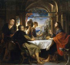 Peter Paul Rubens - Dinner at Emaus [1638] | Arash Noorazar Virtual Art Gallery  #17th #Classic #Painting #Peter #Paul #Rubens