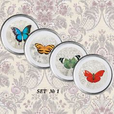 "Home decor 4 plates set ""Butterflies"" - wall decor, vintage, art, recycled paper, acrylic paint, lacquer, ceramic, housewares"
