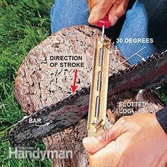 Sharpening a chain saw blade with a round file in a file guide.