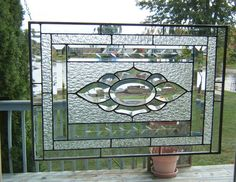 Beveled stained glass window panel Clear stained glass panel window hanging bevel cluster large. $179.00, via Etsy.
