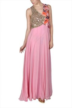 9e2fc25cbbbc Fashion Designer Dresses - Floral Print Wrap Jacket with Pink Strappy Gown