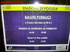 notizie lucane, basilicata news: Bagni pubblici a pagamento alla stazione di Foggia...